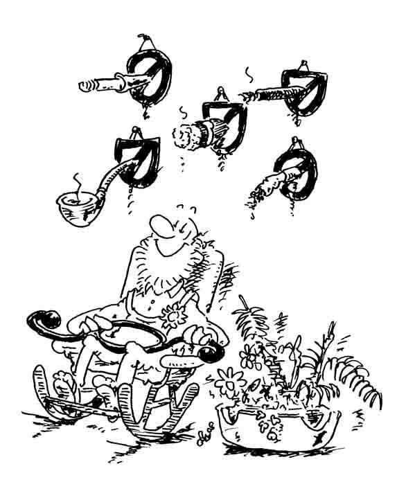Großrauchjäger - Karikatur